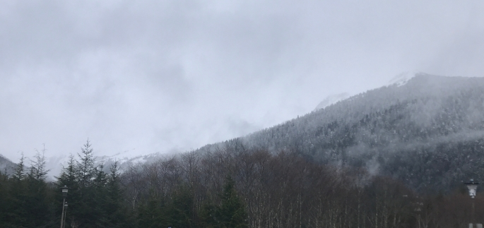 Deer Mountain in cloudy weather